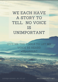 "Image of mountains with ""We each have a story to tell"""