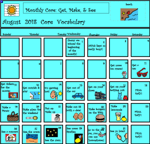 Image of a calendar with core Vocabulary