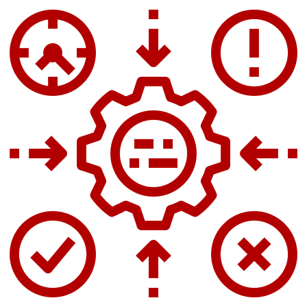 a clock, positive icon, question icon and x icon all with arrows to a gear