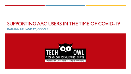 Title slide for Supporting AAC Users in the Time of Covid-19