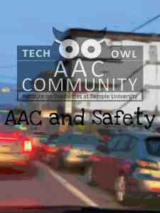 Philly traffic scene with overlaid words: AAC Community logo and AAC and Safety