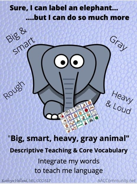 "A Cartoon of an elephant with descriptive words around it; ""Big, smart, heavy, gray animal."""