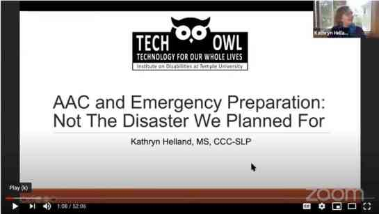 Opening slide for AAC and Emergency Preparation presentation with TechOWL logo.