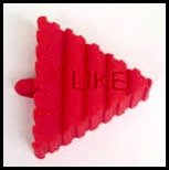 A red, tactile triangle with the word like in print and braille. From Project Core at UNC.
