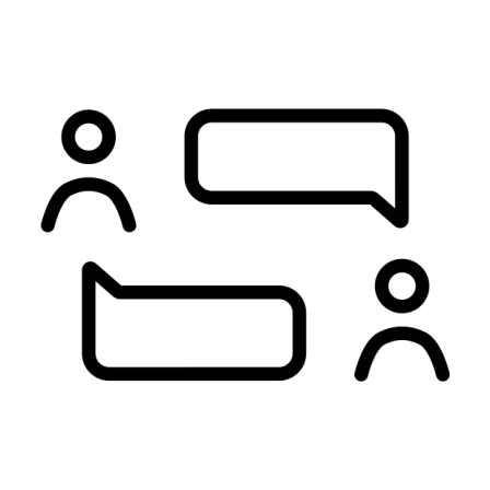 Icon from OpenMoji of two figures with speech bubbles having a conversation