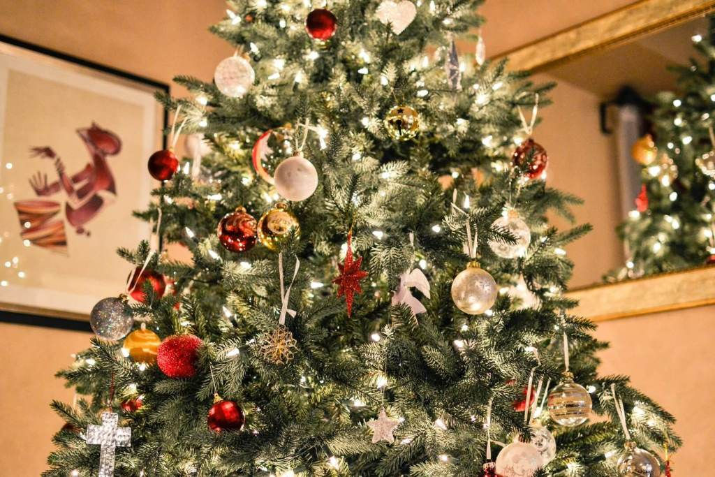Picture of a decorated Christmas tree (or xmas tree)