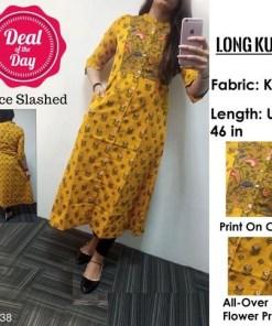 High Demand Front Buttoned Khadi Long Kurti