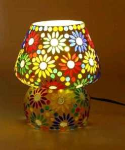 Multicolor Hand Decorative With Colorful Beads & Chips Glass Table Lamp Vol 2