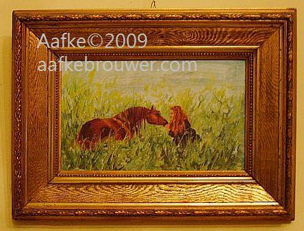 aafke brouwer horses equine art oilpainting portrait Rabhar in meadow