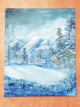 I painted this at a Bob Ross painting party and even though I'm not much of an artist, I still liked it so I put it up.