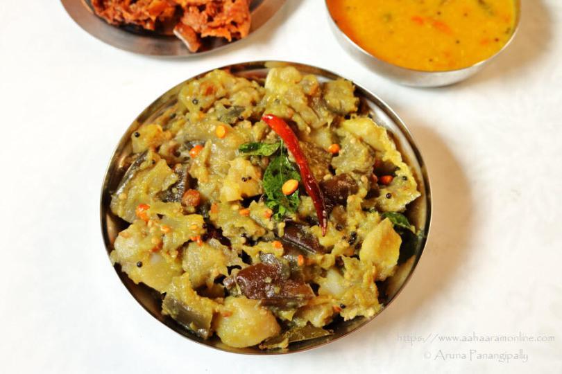 Vankaya Bangala Dumpa Mudda Kura (Brinjal & Potato Mash)