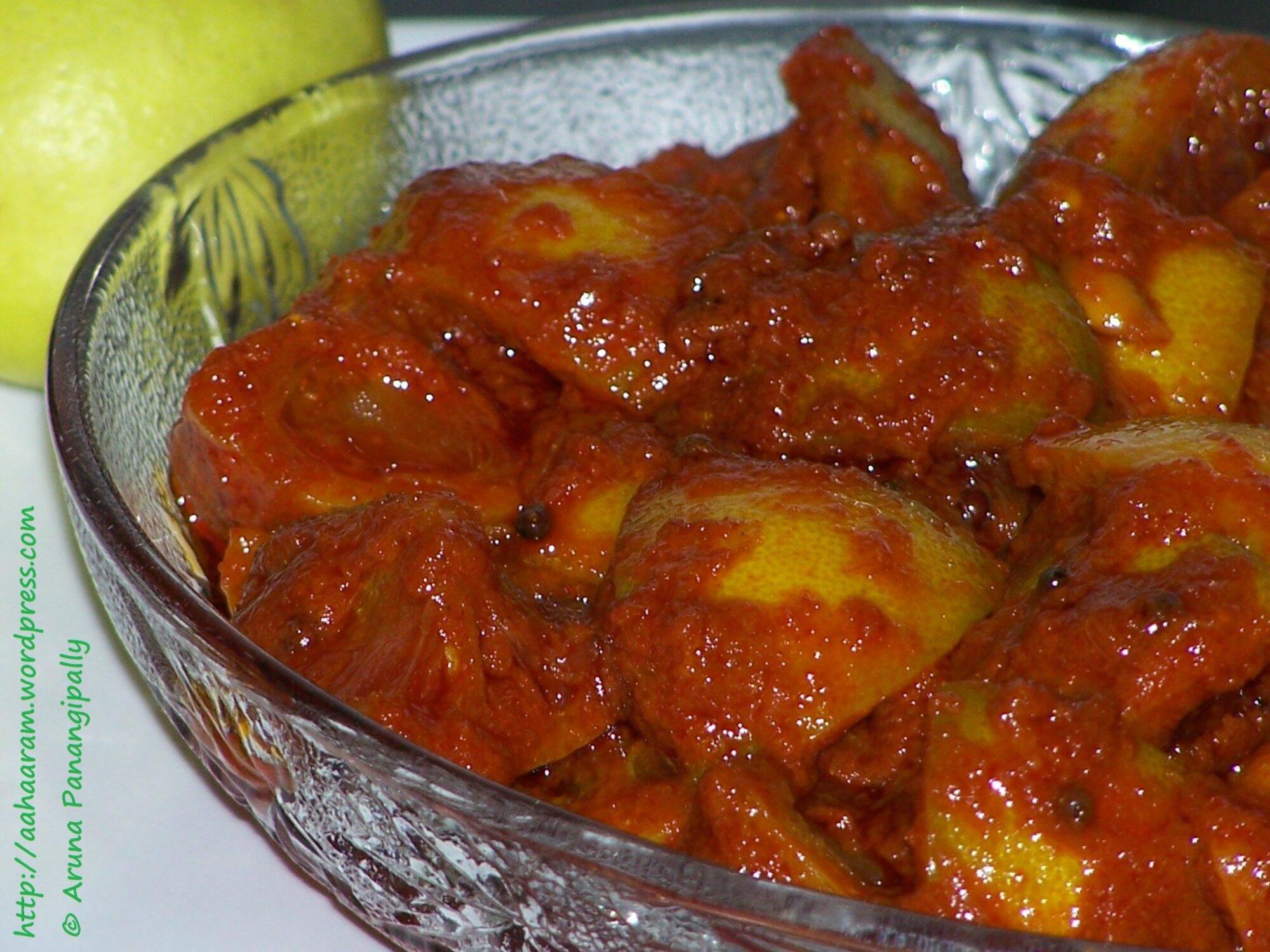 Nimmakaya Uragaya 1 Andhra Lemon Pickle With Oil Aharam