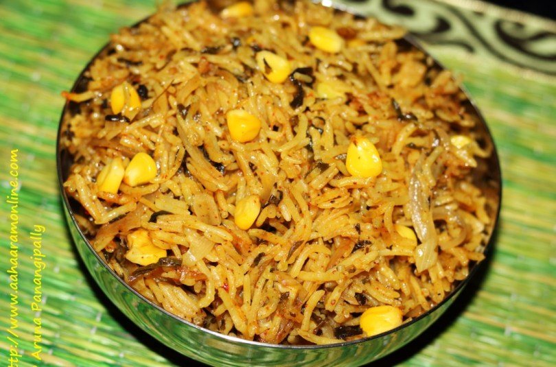 Methi Corn Biryani (Rice with Fenugreek Leaves and Corn)