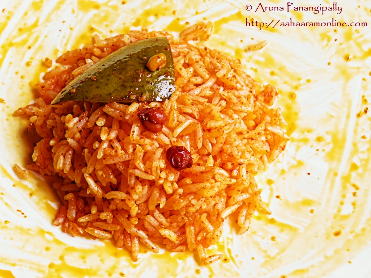Avakaya or Avakai mixed with rice and ghee - Avakai Annam