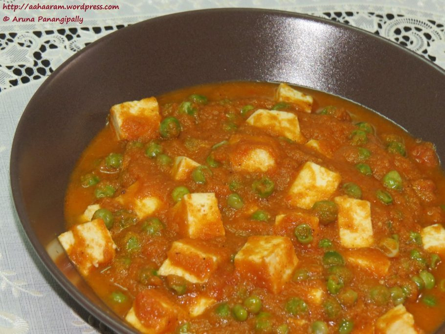 Matar Paneer or Cottage Cheese and Peas Curry
