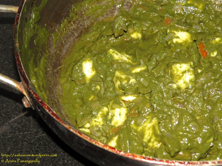 Palak Paneer or Cottage Cheese in Spinach Gravy