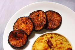 Begun Bhaja | Bengali Pan-fried Brinjal Slices