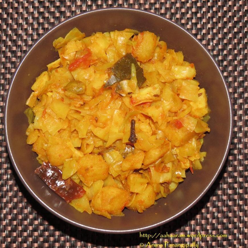 Bandhakopir Torkari   Bengali Cabbage, Peas, and Potato Curry