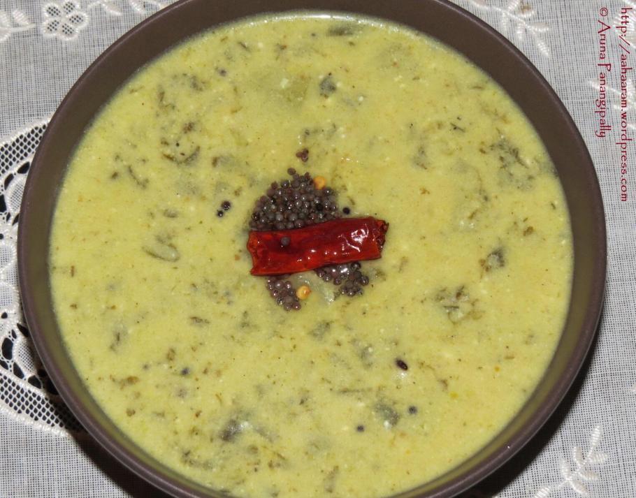 Chukka Koora Majjiga Pulusu or Khatte Bhaji ki Kadi