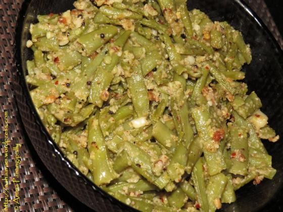 String Beans with Peanuts and Garlic, Gavar ki Bhaji, Guar ki Bhaji