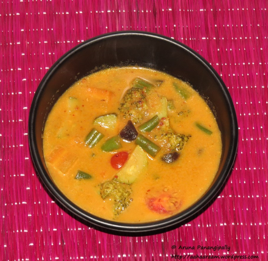 Kalio Tempe - Vegetables in Galangal and Coconut Milk Gravy. This Balinese specialty from Indonesia