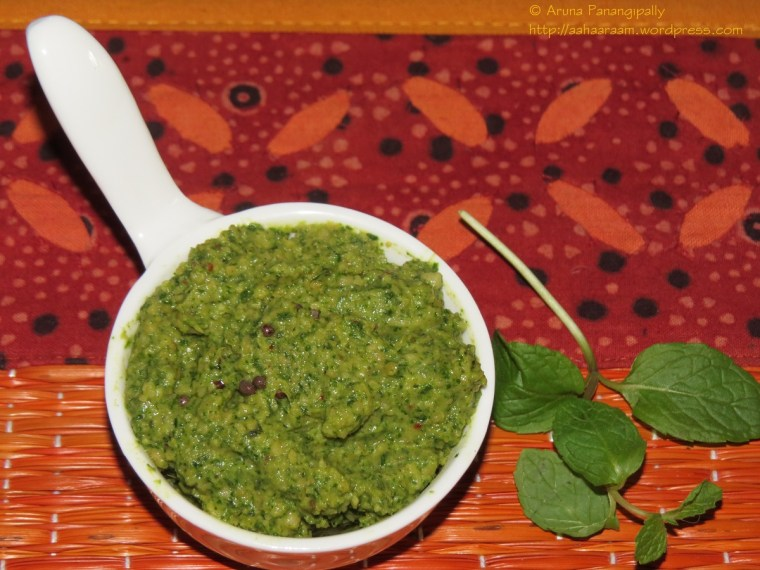 Pudina Pachadi, Mint Chutney or Pudina Thogayal - Andhra or Tamil Nadu Style