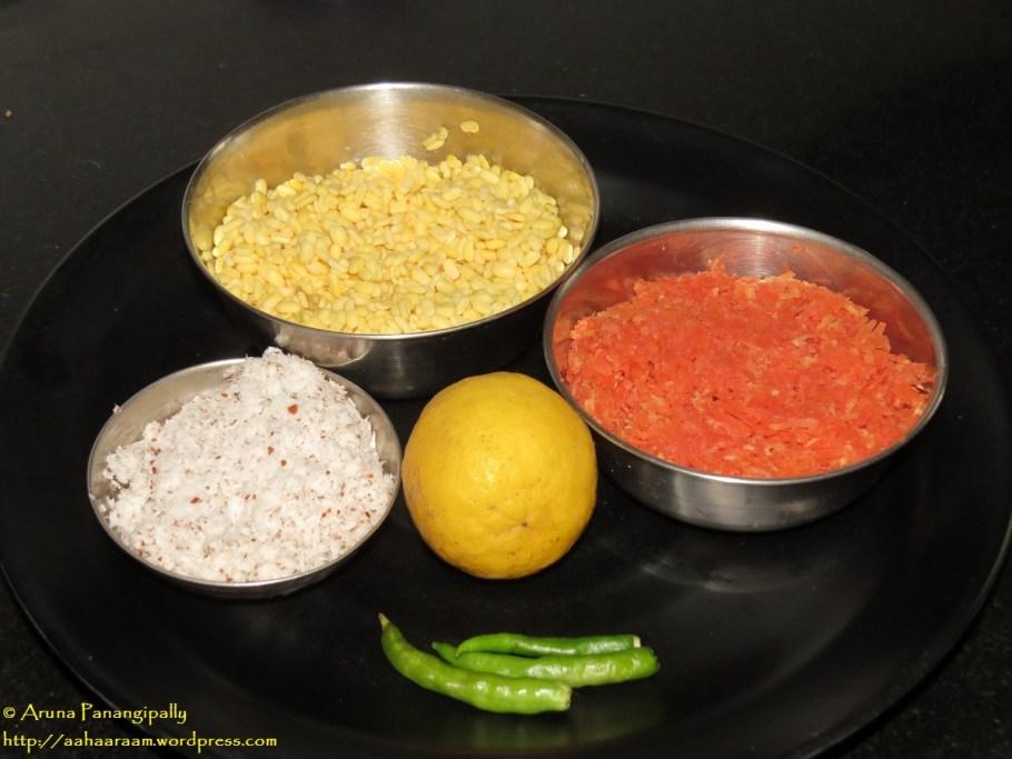 The Ingredients for Carrot Hesarubele Kosambari