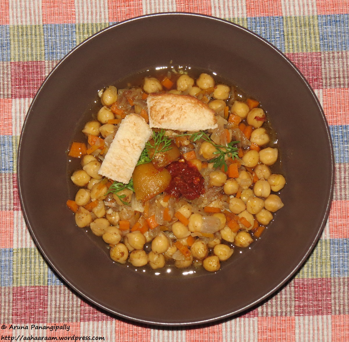 Lablabi or Leblebi - Chickpea Soup from Tunisia. A recipe for the Ramzan Sehri or Iftar.