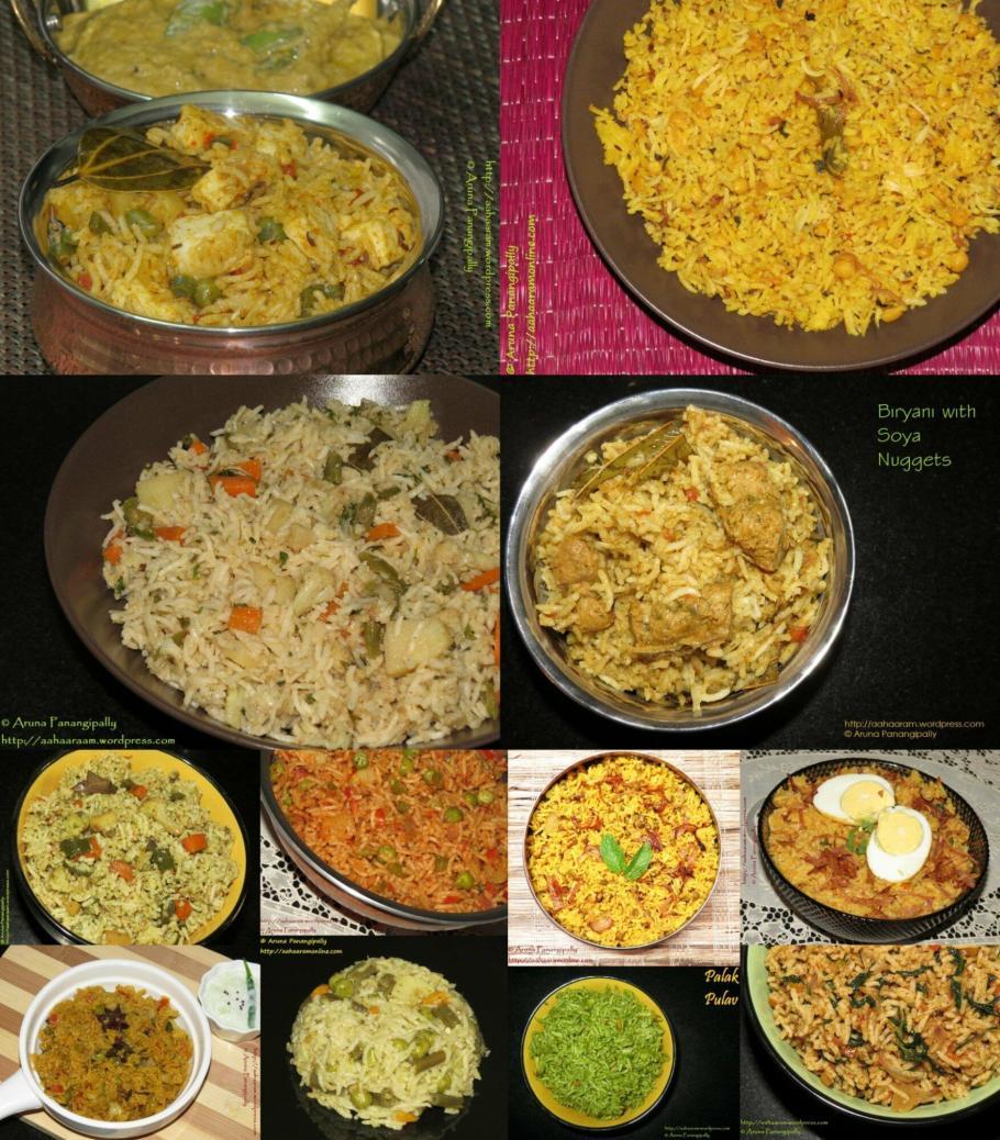 A collection of recipes for vegetarian biryanis and pualos for Ramzan aka Ramadan