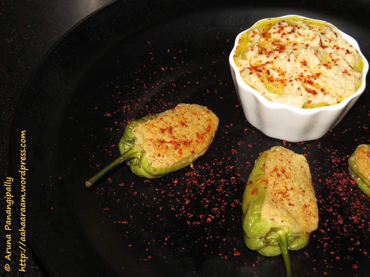 Hummus Stuffed Green Chilli Peppers