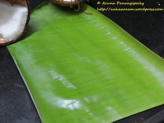 Step 10 - Lightly Grease a Banana Leaf - Ela Ada or Elai Adai