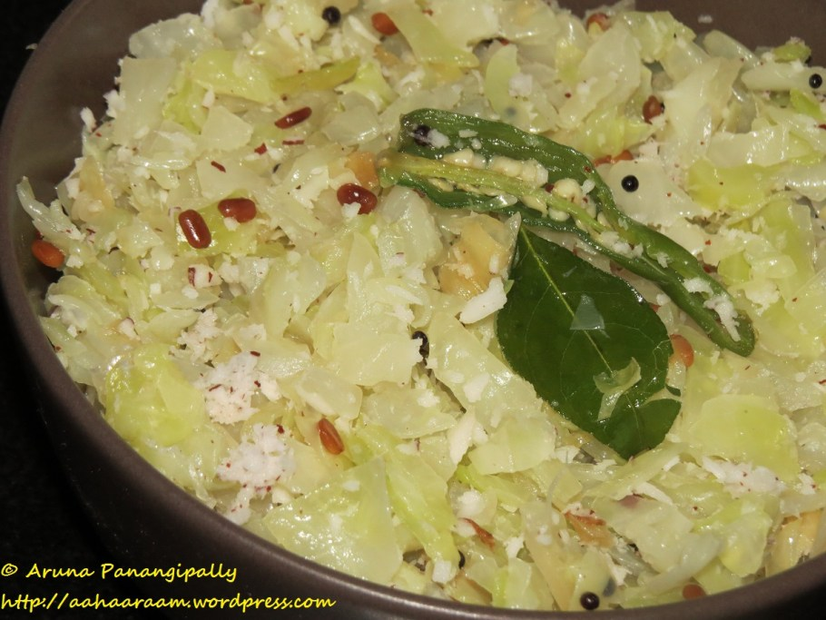 Cabbage Thoran, Muttaikose Poriyal or Cabbage Kobbari Kura