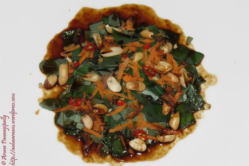 Betel Leaves Salad with Tamarind, Lime, Palm Sugar Dressing