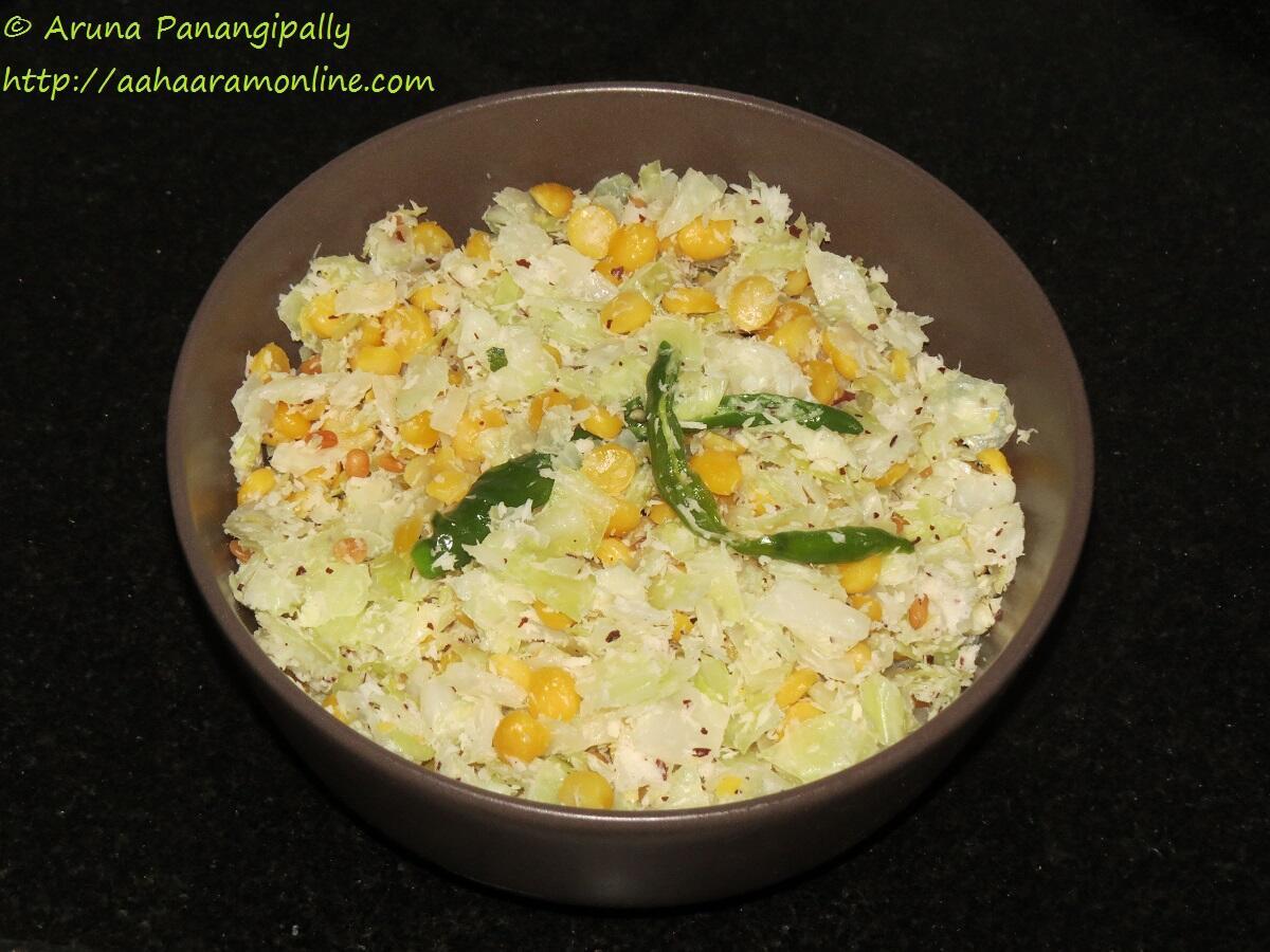 Cabbage Senaga Pappu Kura, Muttaikose Kadalai Paruppu Thoran or Poriyal