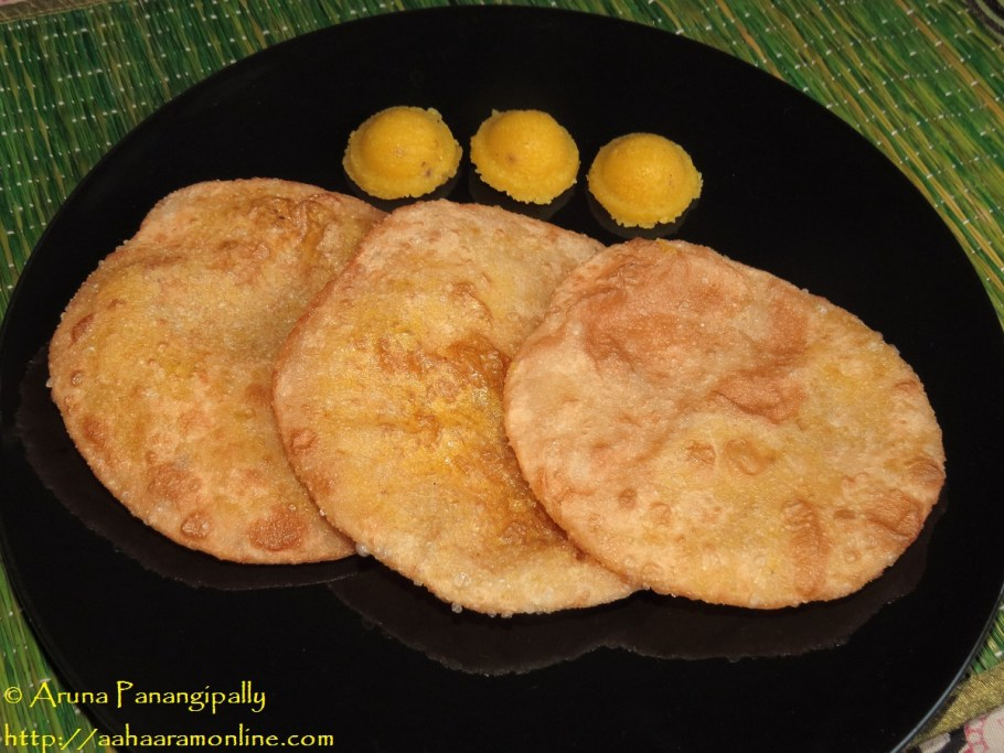 Sojjappalu or Sajjappa - Kesari Stuffed Puris