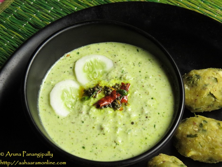 Southekayi Hasi Majjige is a wonderful side of cucumber in spicy yogurt.
