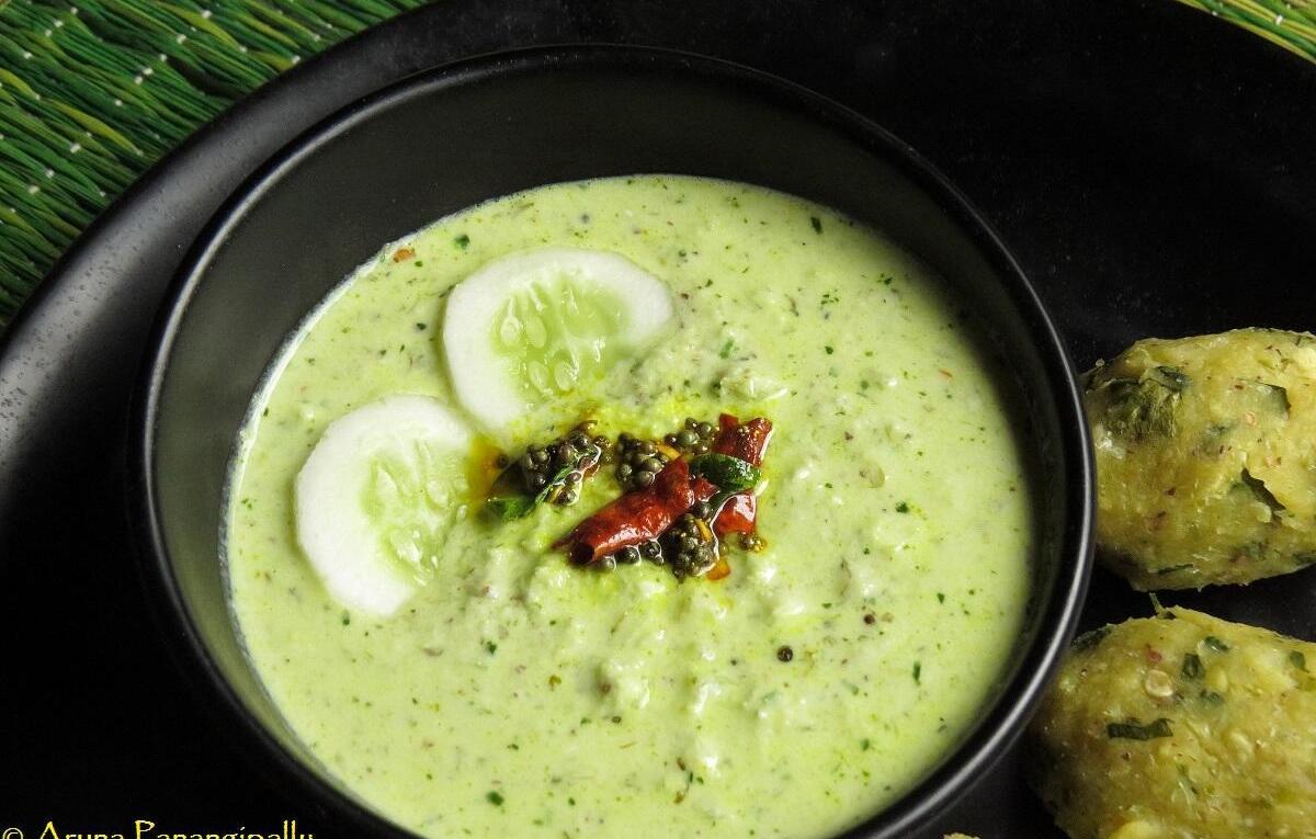 Southekayi Hasi Majjige is a wonderful side of cucumber in spicy yogurt.