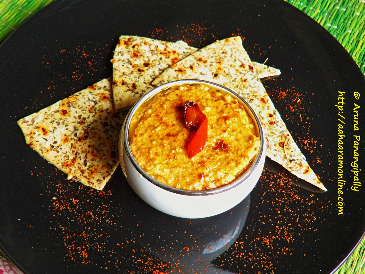 Red Bell Pepper Hummus with Roasted Herbed Lavash