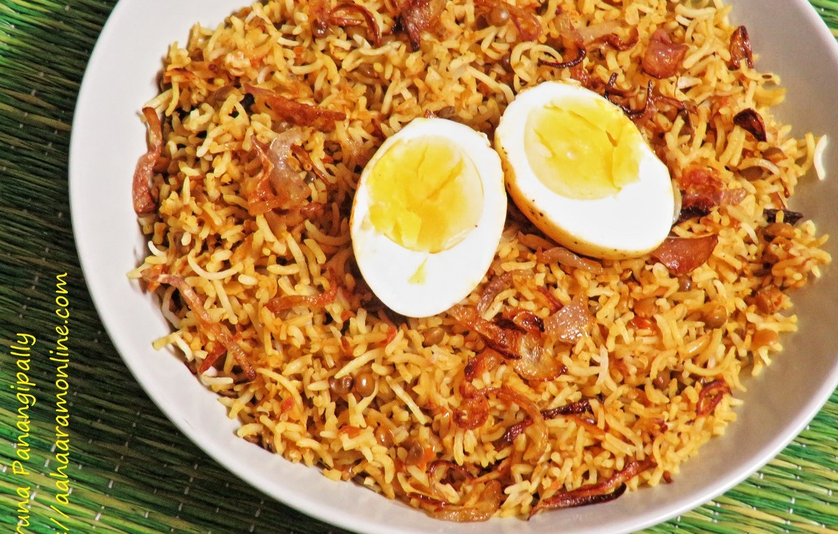 Masoor Dal and Egg Biryani