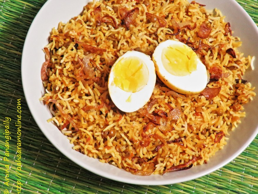 Masoor Dal and Egg Biryani