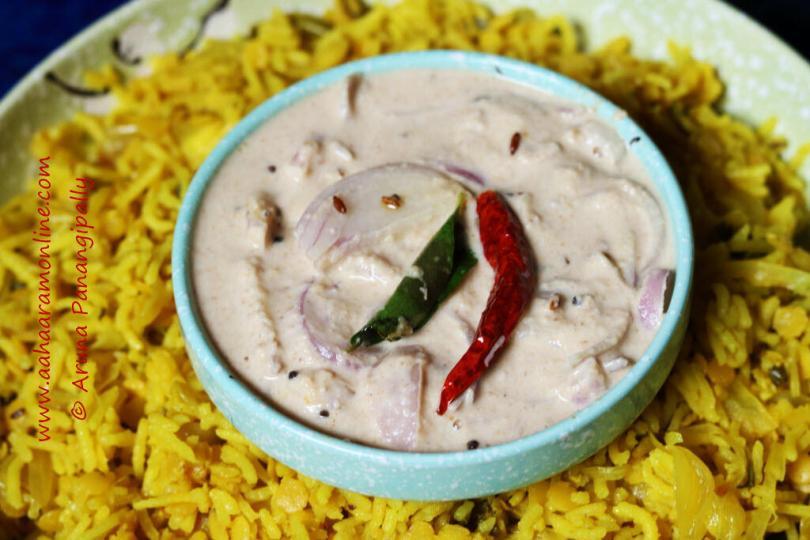 Til ka Khatta served with Hyderabadi Masoor Dal Khichdi
