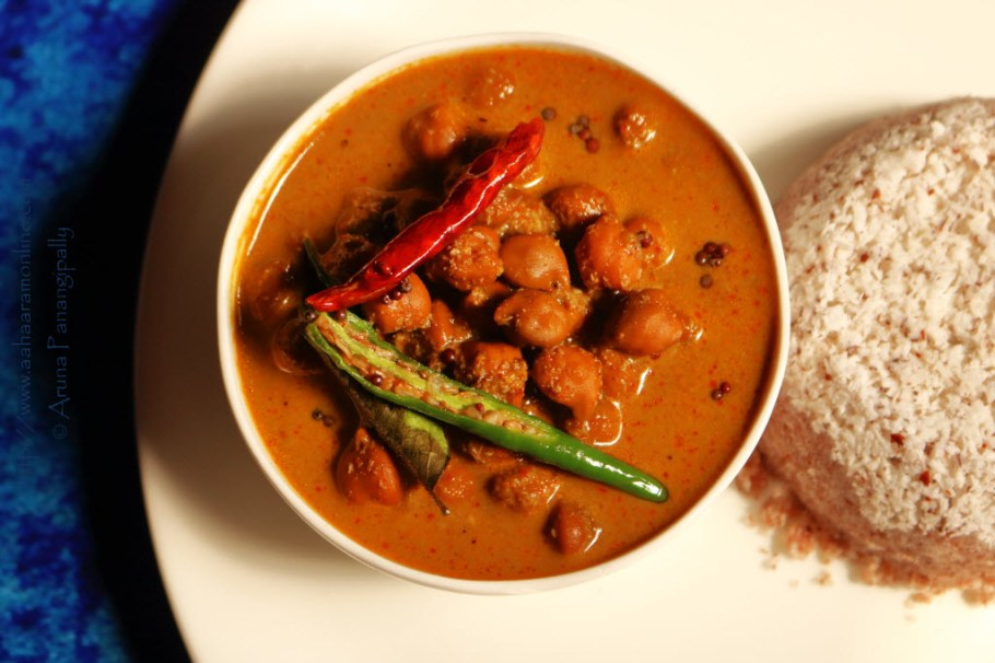 Kadala Curry: Black Chickpea Curry in a gravy made with coconut and spices