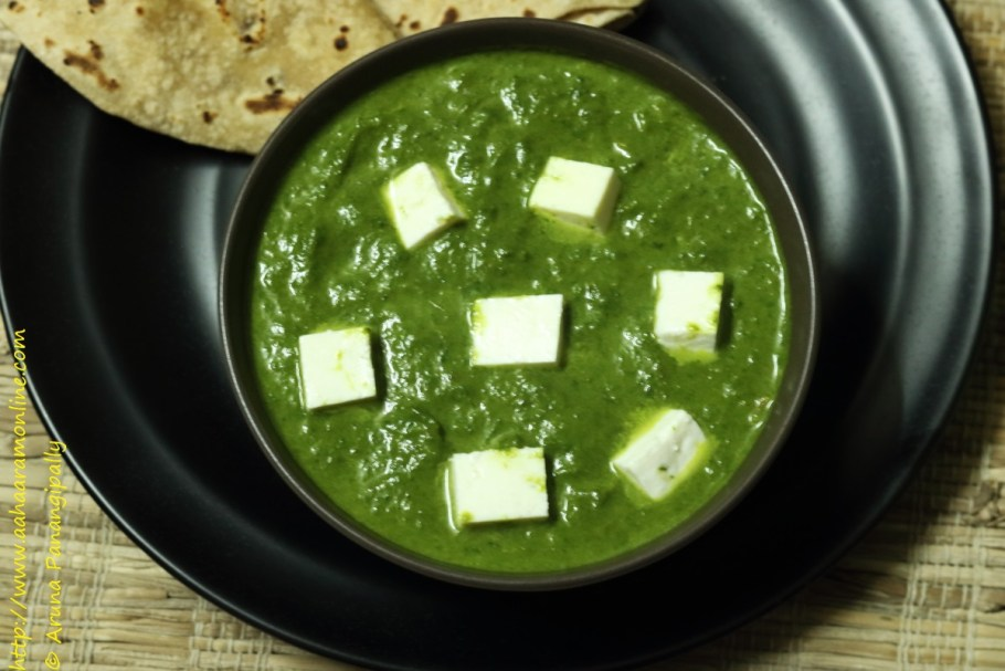 Saag Paneer with Palak, Hara Lehsun, and Hara Pyaaz