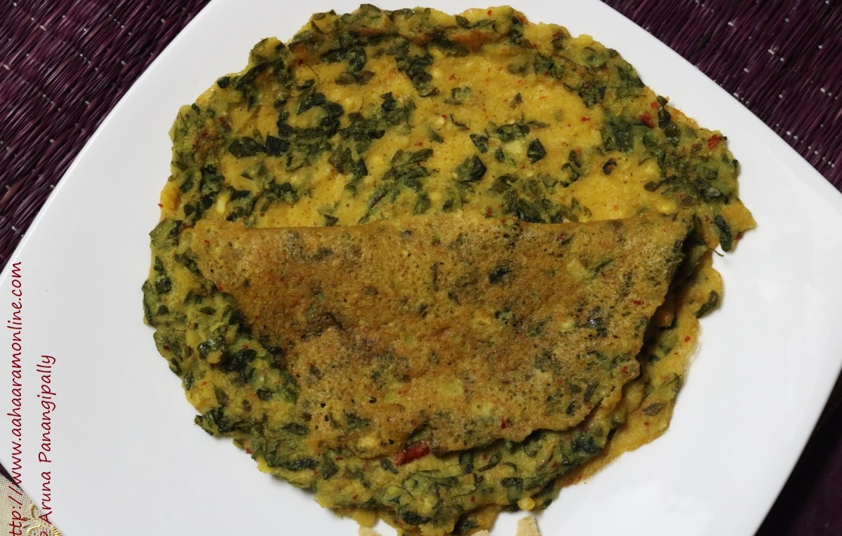 A mixed lentil crepe with moringa leaves