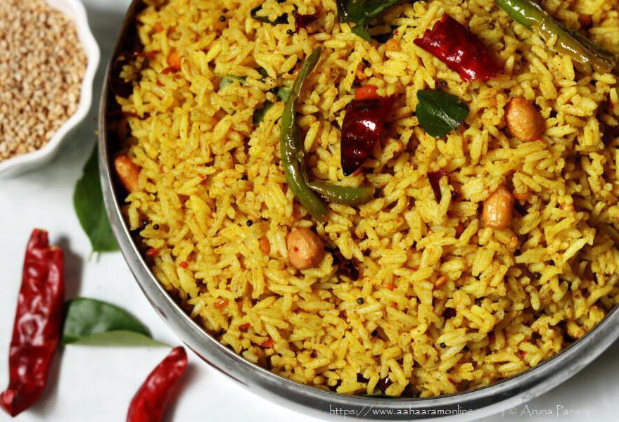 Andhra Nuvvula Chintapandu Pulihora | Tamarind Rice with Sesame Powder