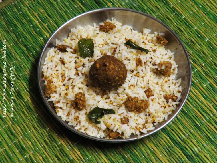 Marathwada Khamang Dhokle with Rice and Ghee