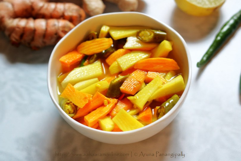 Fresh Turmeric Root and Mango Ginger Pickle