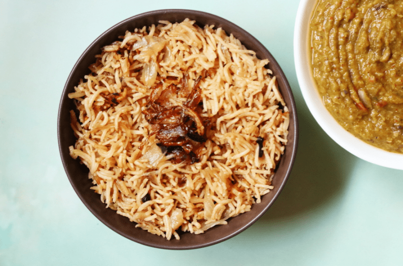 Parsi Brown Rice: Rice with Caramalized Onions