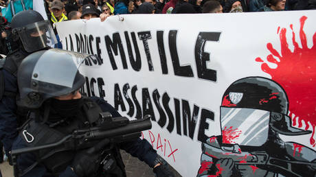 """Police officers stand in front of a banner reading """"The police mutilates, the police kills"""" during the march in tribute to Zineb Redouane."""