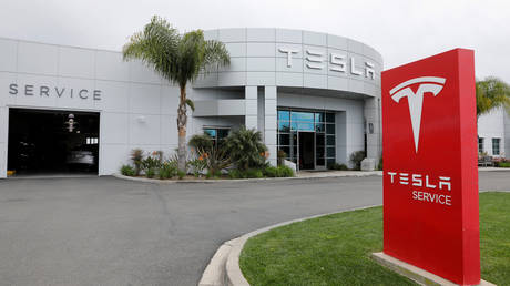 FILE PHOTO: A Tesla service center is shown in Costa Mesa, California, U.S., March 18, 2020.